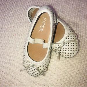 White Ballet Flat Shoe Size8 Toddler Girl Slip On
